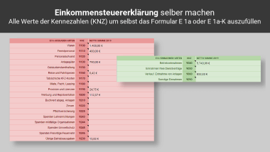 Formular E1a in der KU-Tabelle PRO Screenshot