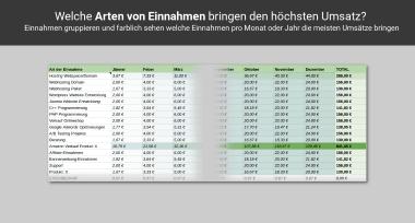Einnahmen- Ausgabenarten in der KU-Tabelle PRO Screenshot