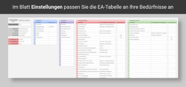 Einstellungen in der KU-Tabelle PRO Screenshot