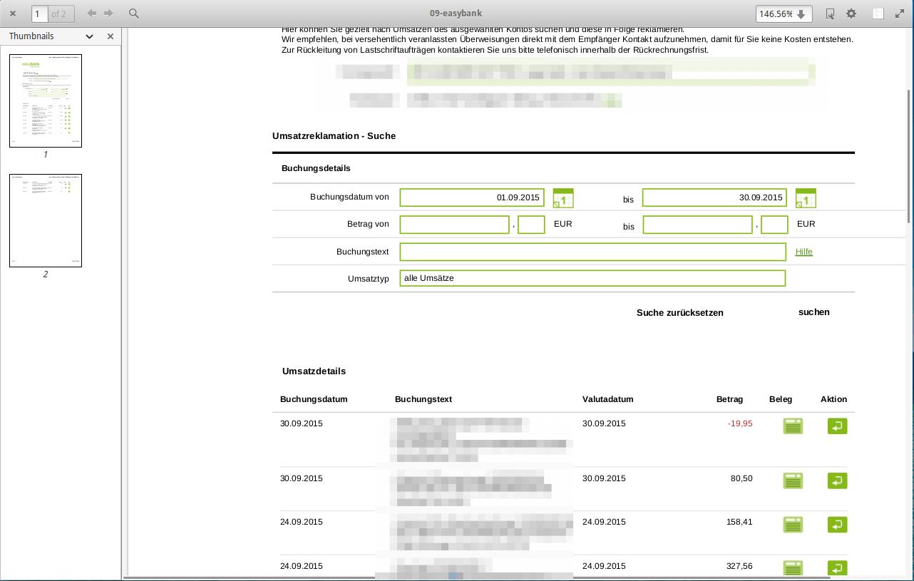Beispielkontoauszug als PDF: Von Easybank Website als PDF gespeichert